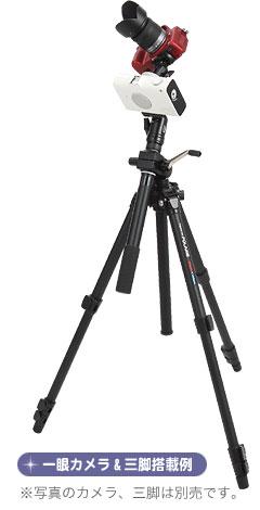 一眼レフカメラ&三脚搭載例(※写真のカメラ、三脚は別売です。)